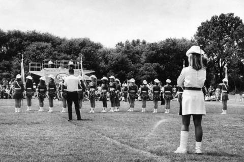 Aug. 27, 1970: Although her ankle and leg were in a cast, Bonnie Schaffhauser ran off the orders for the Marilyners of Belleville. The American Legion Department of Illinois held its annual competition on Elk Grove High School's grounds. Drill teams and drum and bugle corps from across the state competed.