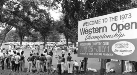 June 27, 1973: A crowd gathers to watch Lee Trevino and Arnold Palmer practice during the Western Open Championship at Midlothian County Club.