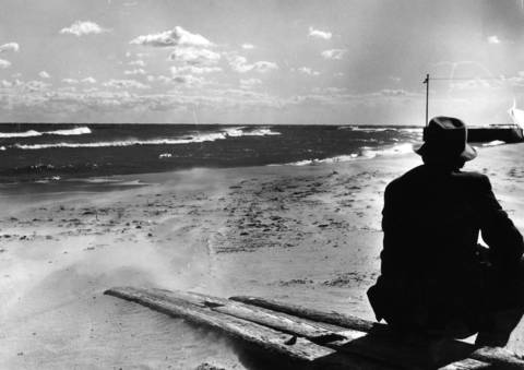 Nov. 7, 1963: A man looks at Wilmette Harbor in the distance.