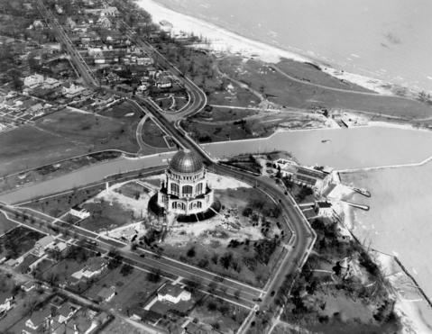 June 28, 1931: The Baha'i House of Worship, built of concrete and glass, has nine entrances which are symbolic of Baha'i principles.
