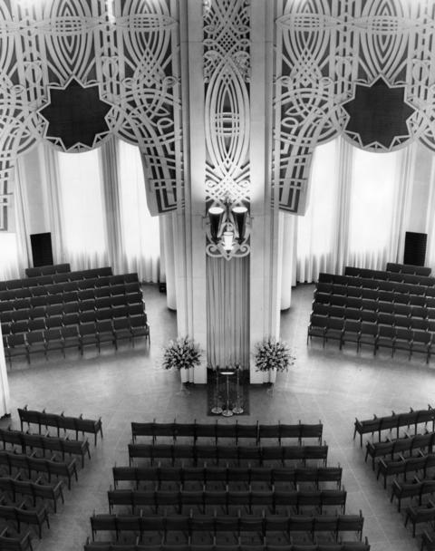 May 4, 1953: Interior view shows seating and the reading stand. The temple was finally dedicated days before, with about 3,500 people in attendance.