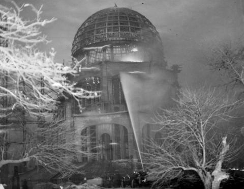 "Jan. 16, 1931: Flames sweep the dome of Baha'i House of Worship, which was nearing completion. Wilmette and Evanston firefighters worked to save the structure, which the caption calls ""one of the most beautiful specimens of architecture in the world."" Damage was estimated at $50,000."