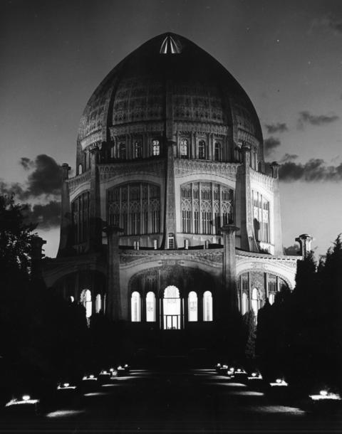 Oct. 23, 1969: A view of the Baha'i House of Worship before a new flood lighting system was installed. The new lighting increased the illumination five times and gave the appearance of daylight.