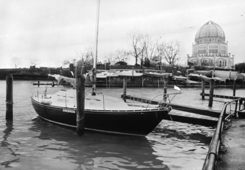 Dec. 16, 1983: The Baha'i House of Worship looms behind Wilmette Harbor.