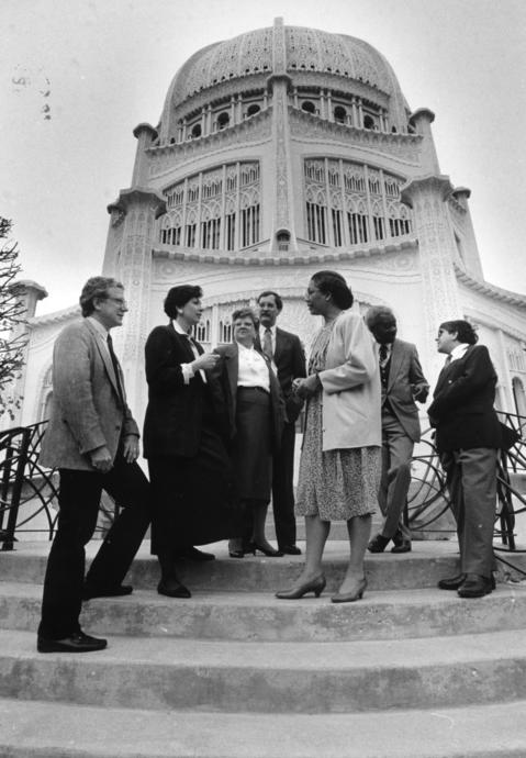 April 26, 1991: Baha'i officials chat before the start of the Baha'i National Convention in Wilmette.