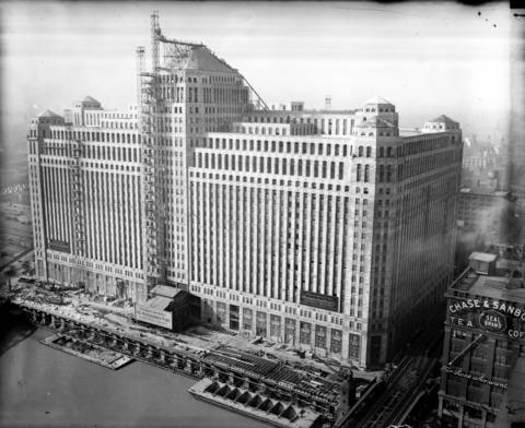 The view of the new Merchandise Mart, still under construction in 1929.