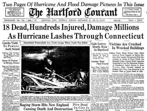 On the afternoon of Sept. 21, 1938, the Great New England Hurricane made landfall in Connecticut, just east of New Haven. While buffered by Long Island, the state still suffered and estimated 85 people killed and $500 million in property damage (in 1938 dollars). The 1938 hurricane is still considered the deadliest and costliest natural disaster in Connecticut history.