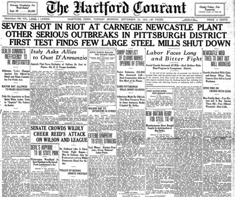 On Sept. 22, 1919, a strike by the Amalgamated Association of Iron, Steel and Tin Workers began in an attempted to organize steel workers. Businesses around the country - including many in Connecticut - braced for the strike, ordering extra supplies or cutting back on staff. The strike collapsed in January 1920.