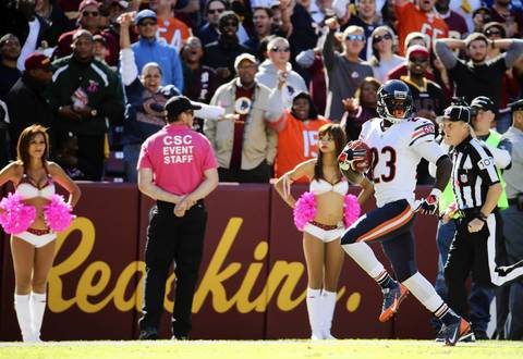 Devin Hester returns a punt 81 yards for a touchdown in the second quarter against the Redskins. It was Hester's 13th career punt return score and his first since Week 10 of 2011 against the Lions.