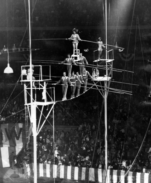 In perfect form in 1951, The Great Wallendas perform their trademark seven-person pyramid act, similar to the one they performed on Jan. 30, 1962, when they fell. Two members of the troupe were killed and two were injured.