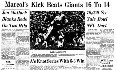 The New York Giants called Yale Bowl in New Haven their home for most of the 1973 and 1974 seasons, losing their first regular season game there to the Green Bay Packers, 16-14, on Oct. 7, 1973. The team had previously played a 1969 preseason game against the New York Jets at Yale Bowl. The Jets won 37-14.