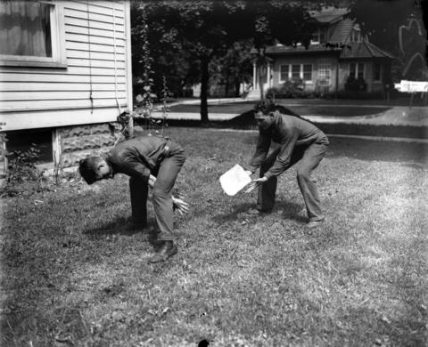 "Archie MacKinney, left, a student at Wheaton College, and Harold ""Red"" Grange, train for football season in 1926. The famous football player had worked as an ice delivery man during his summers off from college at the University of Illinois."