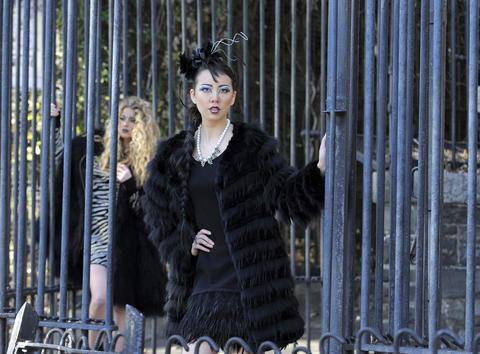 Left: Diane von Furstenberg dress, $365, Handbags in the City. J' coat, $3,888, Katwalk.    Right: Nanette Lepore dress, $398, Trillium. Christine A. Moore fascinator, $115, Hats in the Belfry. Gerard Yosca necklace, $235, Trillium. J' cape, $688, Katwalk.