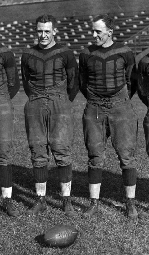 The University of Illinois' Red Grange, left, played five games for George Halas in 1925, signed to play in a different league and then returned to Chicago in 1929, starring for the Bears for the next five season. Grange scored 32 career touchdowns but his biggest play was a touchdown-saving tackle in the 1933 NFL championship game that preserved a 13-10 win over the New York Giants. He was elected to the Hall of Fame in 1963.
