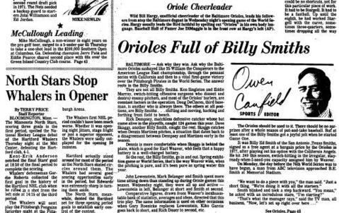 """The Hartford Whalers played their first NHL game, against the North Stars in Bloomington, Minn., on Oct. 11, 1979. The Courant reported on the """"undeniable case of opening night jitters"""" the team had, losing 4-1."""