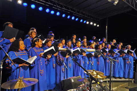 The Morgan State University Choir at the 42nd annual lighting of Baltimore's Washington Monument.