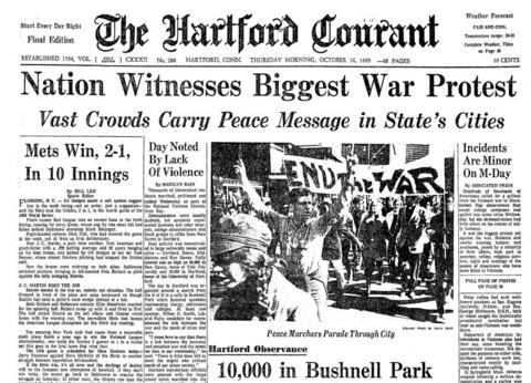 "On Oct. 15, 1969, millions of people worldwide participated in a ""Moratorium To End The War In Vietnam."" The demonstration was planned as a protest of United States involvement in Vietnam. Boston was the site with the largest turnout, as 100,000 people attended a speech by anti-war Senator George McGovern."