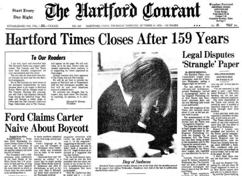 On Oct. 20, 1976, the Hartford Times printed its last edition, closing after 159 years. In a letter to readers from Courant president Edmund W. Downes, published the day after the closing, the Courant promised changes, including the immediate addition of an Opposite Editorial page, to include a wider range of views.