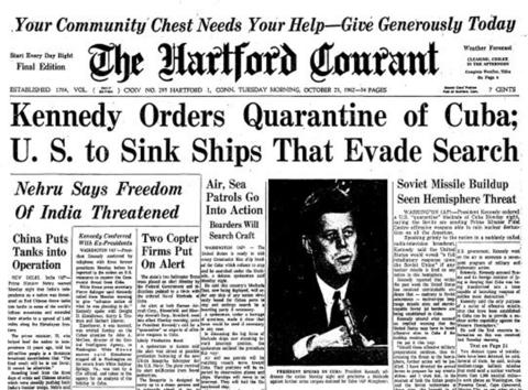 President John F. Kennedy announced in a televised speech on Oct. 22, 1962 that U.S. spy planes had found Soviet missiles in Cuba capable of striking the United States. The crisis ended when Soviet leader Nikita Khrushchev announced his intent to dismantle the Cuban operation.