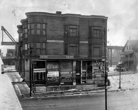 """This photo ran in the Tribune on Jan. 14, 1938 announcing the sale of the H.H. Holmes """"murder castle"""", which sold the previous day. The mansion was razed to make way for an Englewood post office."""