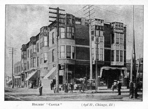 """Exterior of the H.H. Holmes """"murder castle"""" on 63rd and Wallace streets in Chicago. The Tribune described it in a 1937 article: """"There were rooms that had no doors. There were doors that had no rooms. A mysterious house it was indeed -- a crooked house, a reflex of the builder's own distorted mind. In that house occurred dark and eerie deeds."""" This photo originally appeared in the book 'The Holmes-Pitezel Case, a History of the Greatest Crime of the Century' by Frank P. Geyer."""