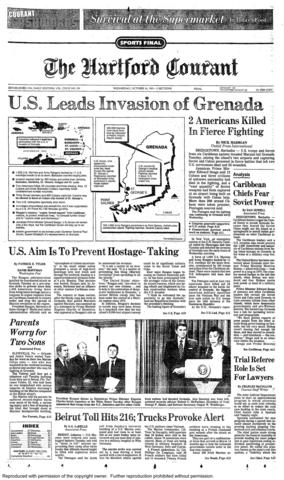 On Oct. 25, 1983, a United States-led invasion of Grenada began. After a revolution in the Caribbean island nation, a Marxist regime had taken power. The invasion restored the pre-revolutionary government.