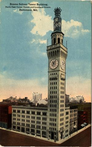 Erected in 1911, this 289-foot tower was once headquarters for the Emerson Drug Co., manufacturers of the antacid Bromo Seltzer (for decades marketed in blue bottles, which explains why a giant blue bottle sat atop the tower until 1936). Although Bromo Seltzer left Baltimore long ago, the distinctive tower remains (is there a skinnier office building anywhere?), now used as an artists' space.  (Pictured: A postcard of the Bromo Seltzer Tower building, postmarked July 23, 1915)