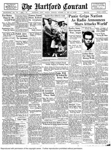 """""""Hysteria among radio listeners throughout the nation...from a too-realistic radio broadcast"""" occurred Oct. 30, 1938, when Orson Welles performed a radio dramatization of """"War Of The Worlds."""""""