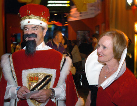 VP of public relations Kevin Byrne and his wife Sally dressed as the King and Queen of Hearts at the 2006 Halloween party.