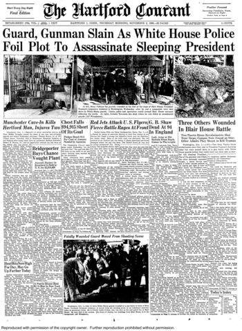 On Nov. 1, 1950, two Puerto Rican pro-independence activists attempted to assassinate President Harry S. Truman while he was living at Blair House during renovations at the White House. A White House police officer was killed. Truman was unharmed.