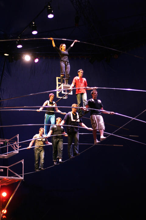 A rehearsal photo of The Flying Wallendas for a Lookingglass' production of Hephaestus in 2010.