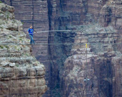 Nik Wallenda walks a high wire over the Little Colorado River Gorge near the Grand Canyon in Arizona.