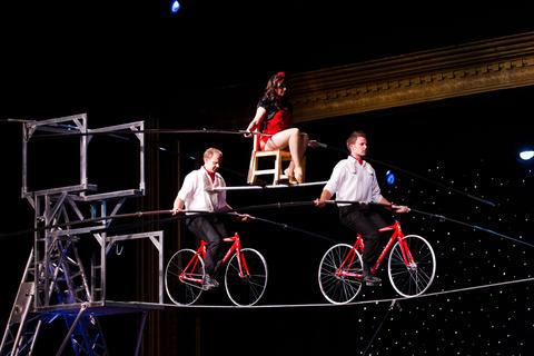 High-rope walker Nik Wallenda and his family perform at the Opera House at Silver Dollar City in Branson, Missouri. On June 15, 2012 Wallenda successful walked across Niagara Falls.