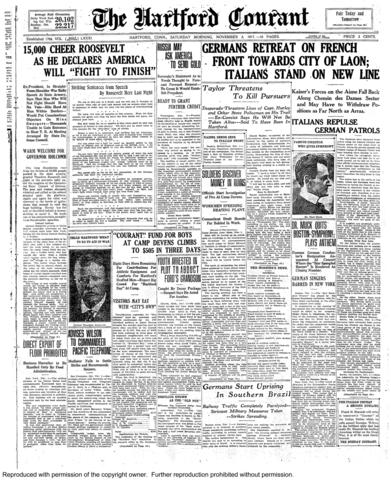 "More than 15,000 people jammed the Armory in Hartford for the ""Roosevelt War Rally"" on the night of Nov. 2, 1917. Ex-President Theodore Roosevelt was touring the country giving speeches in favor of World War I."