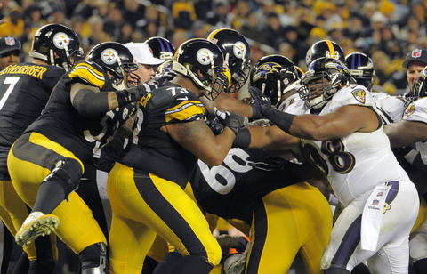 The Ravens and Steelers tussle after linebacker Terrell Suggs hit Pittsburgh running back LeGarrette Blount low while he was being tackled.