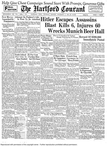 On Nov. 8, 1939, 16 years after Adolf Hitler marches his Nazi troops into Berlin in a failed bid to take over the German government, a bomb exploded just after Hitler finished giving a speech marking the anniversary. The blast killed at least 66, injured more than 60 and destroyed a famous beer cellar, but Hitler was unharmed. In all, there were more than 30 assassination attempts on Hitler during his life.