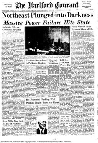 More than 30 million people lost power for as much as 13 hours on Nov. 9, 1965 when maintenance workers mistakenly set the capacity of a transmission line too low. The failure effected all of the northeastern United States and part of Canada.