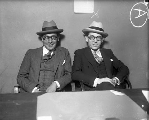 """Chicago's debonair beer barons Frankie Lake, left, and Terry Druggan, right, circa 1925. The two men were beer manufacturers and distributors who became millionaires during Prohibition. In the early 1920s, Lake and Druggan, who led the Valley Gang, owned several breweries and used their wealth to gain political influence and police protection to avoid jail sentences for beer running and tax evasion. The Tribune described the duo in 1924 as """"inseparable and dapper as ever."""" Both men were on the Chicago Crime Commission's Public Enemies list in the 1930s, despite their insistence that they were legitimate businessmen who only sold Near-O, or """"near beer"""" (alcohol-free beer)."""