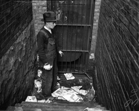 """William Dolan, from the Water Pipe Department, found the body of Arthur J. Hewitt, 59, in the 3600 block of S. Park Way in April 1936. Hewitt, a prosperous retired engineer from Wheaton, Ill., had been out drinking with Jewel """"Jerry"""" Corley (who also used the aliases Cortez and Jean Scott) on April 16, 1936, the night he was killed. Corley, described by the Tribune as a """"bar-room butterfly,"""" attested that Hewitt fell down the stairs and hit his head. Her friends said she told them she hit him over the head with a bottle and took off to Detroit in his car."""