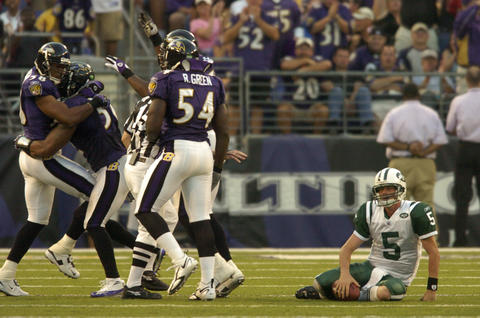 The Ravens defense smothered Curtis Martin and first-time starting quarterback Brooks Bollinger to earn the team's first win of the season after an 0-2 start.