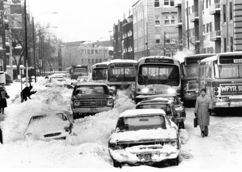 After a couple of CTA buses sideswiped each other on a narrow section of Addison Street, near Sheridan Road, 13 buses and several cars got stuck in a snowbound traffic jam before things could be sorted out on Jan. 15, 1979.