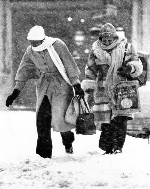 Two women walk through a blizzard in Chicago on Jan. 12, 1979.