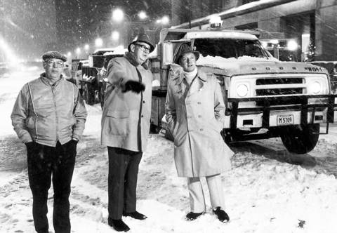 Mayor Michael Bilandic, right, watches snow removal on LaSalle Street on December 31, 1978, just a few weeks before 18 more inches of snow hit Chicago.