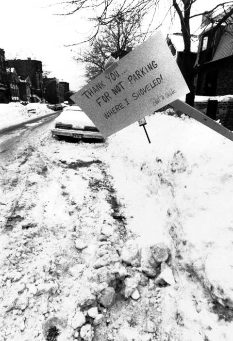 A Chicagoan on the Northside of the city put a polite 'dibs' on their shoveled parking spot on Jan. 23, 1979.