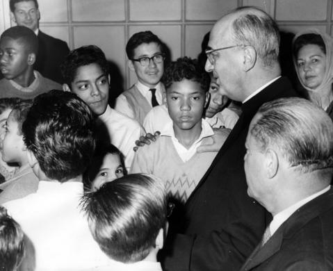 Cardinal Albert Meyer, top right, talks with boys at Goldblatt's State Street store Dec. 16, 1964, during his annual Christmas party for 100 underprivileged boys.