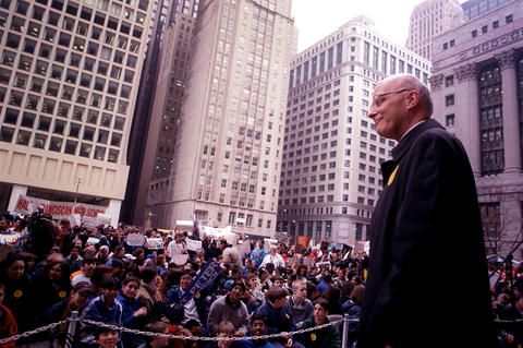 Cardinal Francis George attends a rally of students from private Catholic schools at Daley Plaza in 1999.