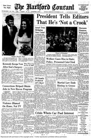 "In a nationally televised appearance that lasted more than an hour, President Richard Nixon told the country on Nov. 17, 1973, that he was ""not a crook,"" referring to Watergate, his personal finances and other changes of scandal in his administration. Nixon would later resign, effective Aug. 9, 1974."
