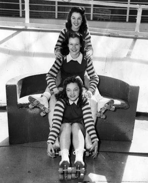 Mary Lou Palermo, from top, Gerry Murray, and Katy King, shown here on May 27, 1948, represented Chicago at the roller derby tournament which opened on June 10, 1948, at the Coliseum in Chicago.
