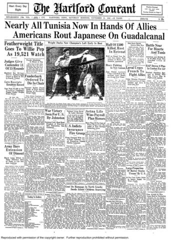 """Connecticut boxer Willie Pep defeated Chalky Wright in a unanimous decision at Madison Square Garden on Nov. 20, 1942, to win the New York State Athletic Commission World featherweight title. The 15-round bout was considered the """"Fight of the Year"""" by """"The Ring Magazine."""""""