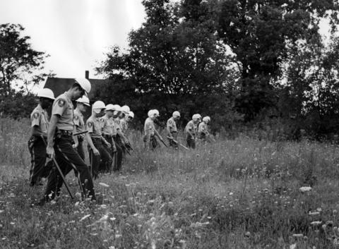 Cook County police and sheriff's police search a field between Leavitt St. and Oakley Ave. in Dixmoor, Ill., for any kind of weapons on Aug. 19, 1964.
